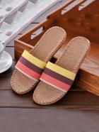 Romwe Block Striped Linen Slippers
