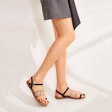 Romwe Clear Buckle Strap Toe Ring Sandals