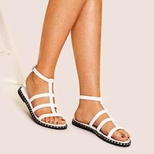 Romwe Cut-out Decorated Flat Sandals