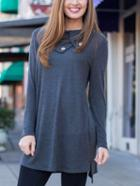 Romwe Shawl Collar Split Tshirt Dress