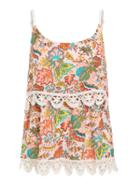 Romwe Crochet Trimmed Layered Flower Print Cami Top