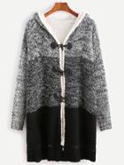 Romwe Contrast Faux Shearling Neckline Duffle Sweater Coat
