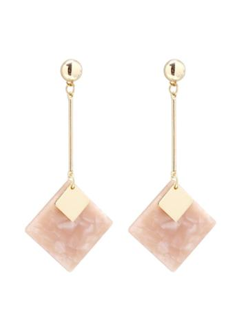 Romwe Square Gemstone Design Drop Earrings