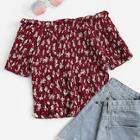 Romwe Calico Print Off The Shoulder Shirred Blouse