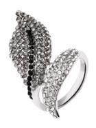 Romwe Silver Rhinestone Embellished Leaf Wrap Ring