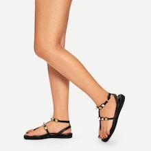 Romwe Studded Decor Flat Sandals