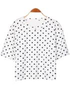 Romwe Polka Dot Crop White T-shirt