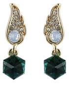 Romwe Green Gemstone Gold Diamond Wing Earrings