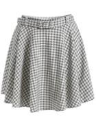 Romwe With Belt Plaid Skirt