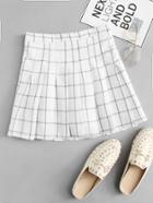 Romwe Pleated Plaid Skirt