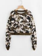 Romwe Drop Shoulder Shirred Sleeve Camo Sweatshirt
