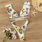 Romwe Random Floral Ruffle Top With High Cut Bikini Set