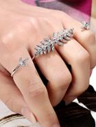 Romwe Rhinestone Leaf Linked Finger Ring