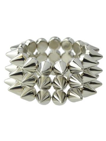 Romwe Silver Spike Elastic Bangles And Bracelets