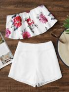 Romwe Floral Print Bandeau Top With Shorts
