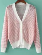 Romwe With Buttons Striped Hollow Knit Cardigan