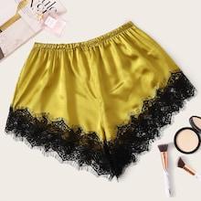 Romwe Eyelash Lace Satin Sleep Shorts
