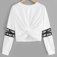 Romwe Plus Twist Detail Letter Taped Sweatshirt