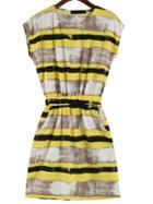 Romwe Color-block Striped Slim Dress