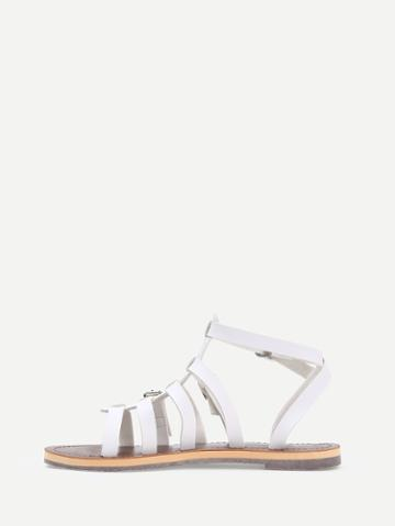 Romwe White Caged Open Toe Gladiators Sandals
