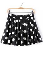Romwe Polka Dot Pleated Flare Skirt