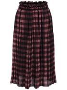 Romwe Elastic Waist Plaid Pleated Burgundy Skirt