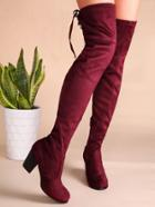 Romwe Burgundy Tie Back Thigh High Chunky Heel Boots