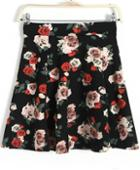 Romwe Floral Print Flouncing Skirt