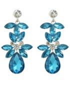 Romwe Blue Rhinestone Flower Drop Earrings