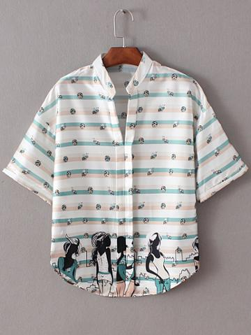 Romwe Multicolor Stand Collar Beauties Insects Print Blouse