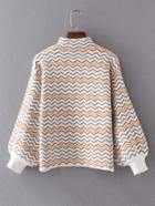 Romwe Lantern Sleeve Mock Neck Zigzag Sweater
