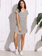 Romwe Black White Striped Drop Shoulder Tshirt Dress