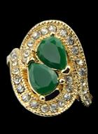 Romwe Green Gemstone Rhinestone Gold Ring