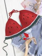 Romwe Self Tie Crochet Watermelon Bralette
