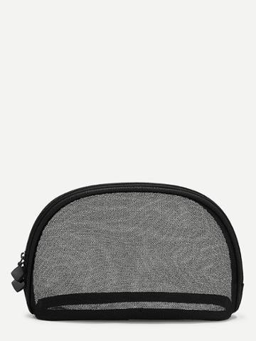 Romwe Double Zipper Mesh Makeup Bag