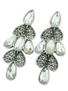 Romwe White Drop Gemstone Silver Heart Earrings