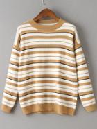 Romwe Khaki Striped Crew Neck Drop Shoulder Sweater