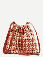 Romwe Tassel Detail Two Tone Woven Drawstring Bucket Bag