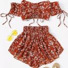 Romwe Plus Ditsy Floral Shirred Drawstring Top With Shorts