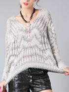 Romwe V Neck Hollow Pale Grey Sweater