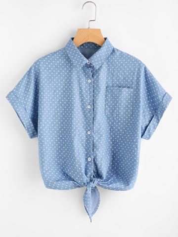 Romwe Cuffed Sleeve Tie Front Polka Dot Chambray Shirt