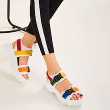 Romwe Release Buckle Chunky Sandals