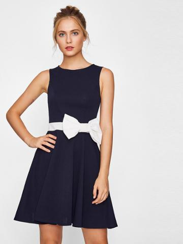 Romwe Contrast Bow Embellished Fit & Flare Dress