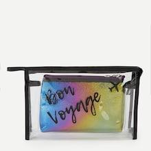 Romwe Letter Print Makeup Bag Set 2pack