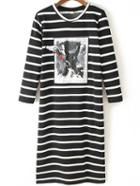 Romwe Striped Embroidered Patch Tshirt Dress