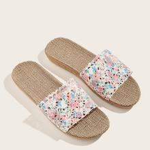 Romwe Open Toe Floral Print Slippers