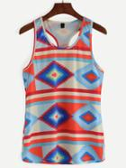 Romwe Multicolor Tribal Print Racerback Tank Top