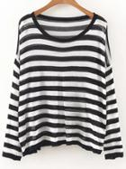 Romwe Black And White Striped Drop Shoulder Knitwear