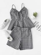 Romwe Knot Front Checked Smock Cami Top With Shorts