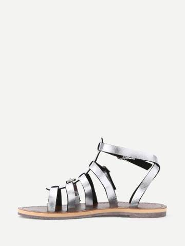 Romwe Silver Caged Open Toe Gladiators Sandals